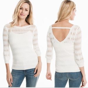 WHBM Drop Stitch V Back Pullover Sweater Size L